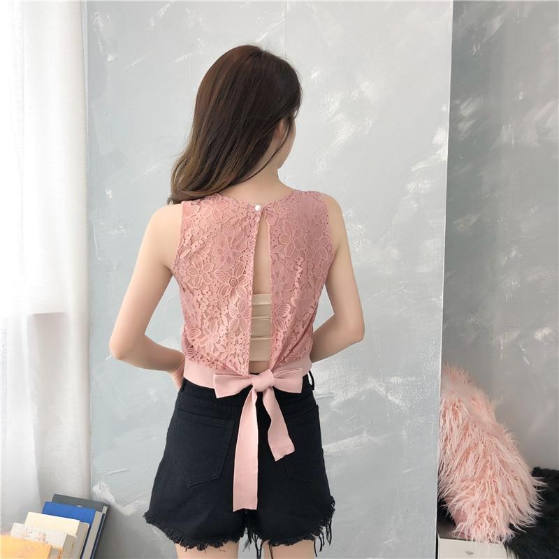 Dingaozlz Short Lace Shirt Summer Crop Tops Hollow Sleeveless Women Tank Tops Bow Tie Casual Knitted Camis Shirt Feminina