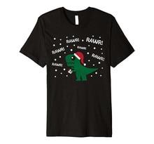 Screen Printing T Shirts O-Neck Short Sleeve Mens Rawr T-Rex Hates Christmas
