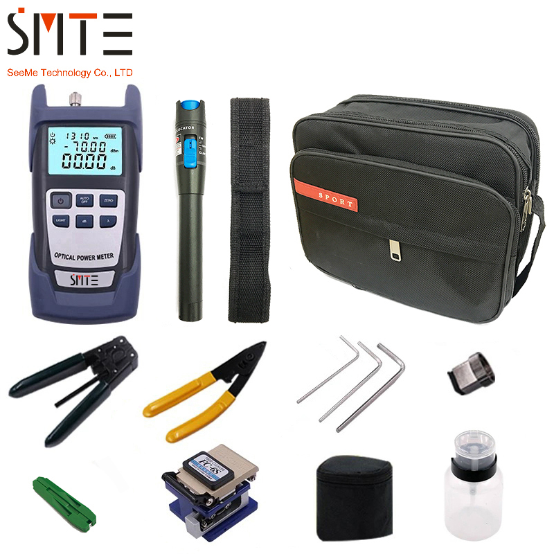 FTTH Fiber Optic Tool Kit 12pcs/set FC-6S Fiber Cleaver -70~+3dBm Optical Power Meter 5km Laser pen