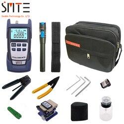 FTTH Fibra Ottica Tool Kit 12 pz/set FC-6S In Fibra di Mannaia-70 ~ + 3dBm Misuratore di Potenza Ottica 5 km penna Laser
