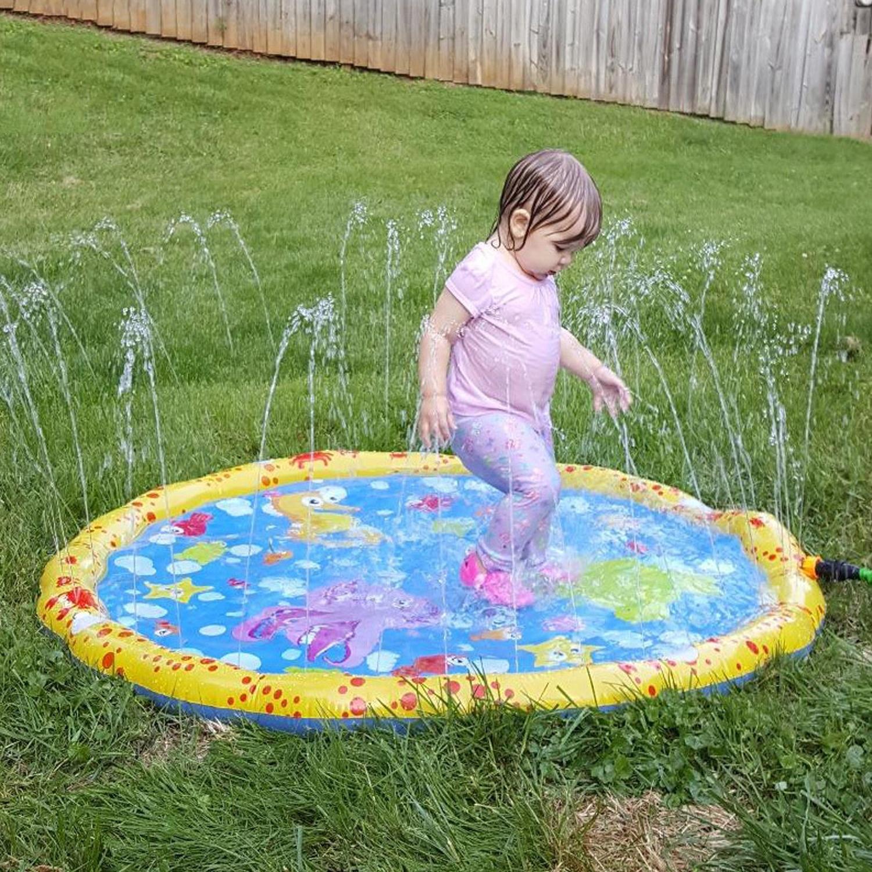Kids 100cm Diameter Cartoon Inflatable Summer Outdoor Sprinkle Splash Water Playmat Pool Beach Water Spray Mat Game Pad Toy