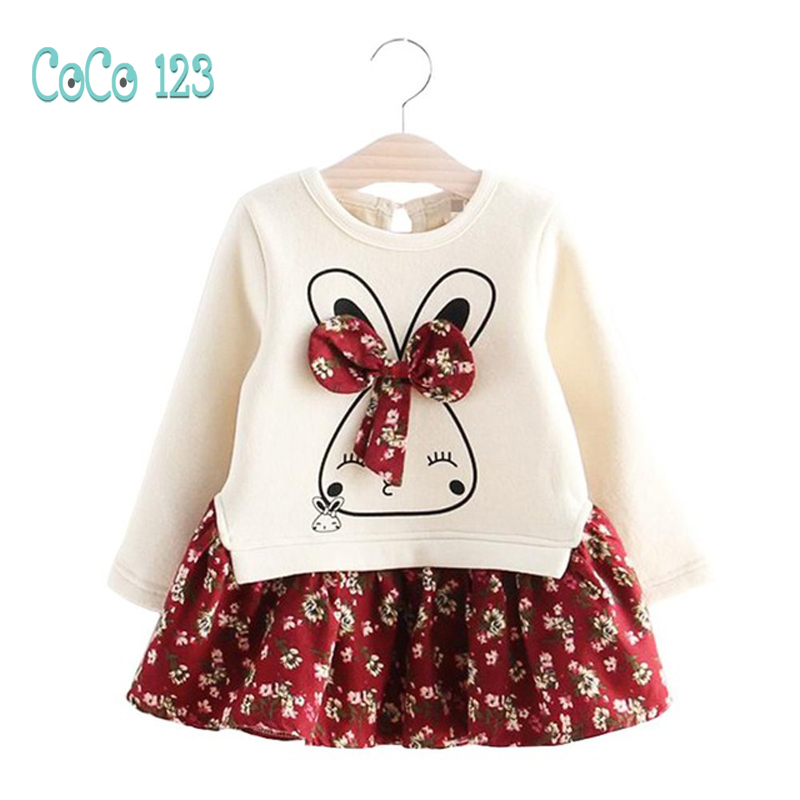 Long Sleeve Thicker Girls Dress 2018 New Flower Printed Spring Autumn Children Princess Dresses Rabbit Casual Baby Kids Clothes 2015 new spring autumn korea style girls cute leather lace patchwork princess long sleeve dresses baby boutique dress