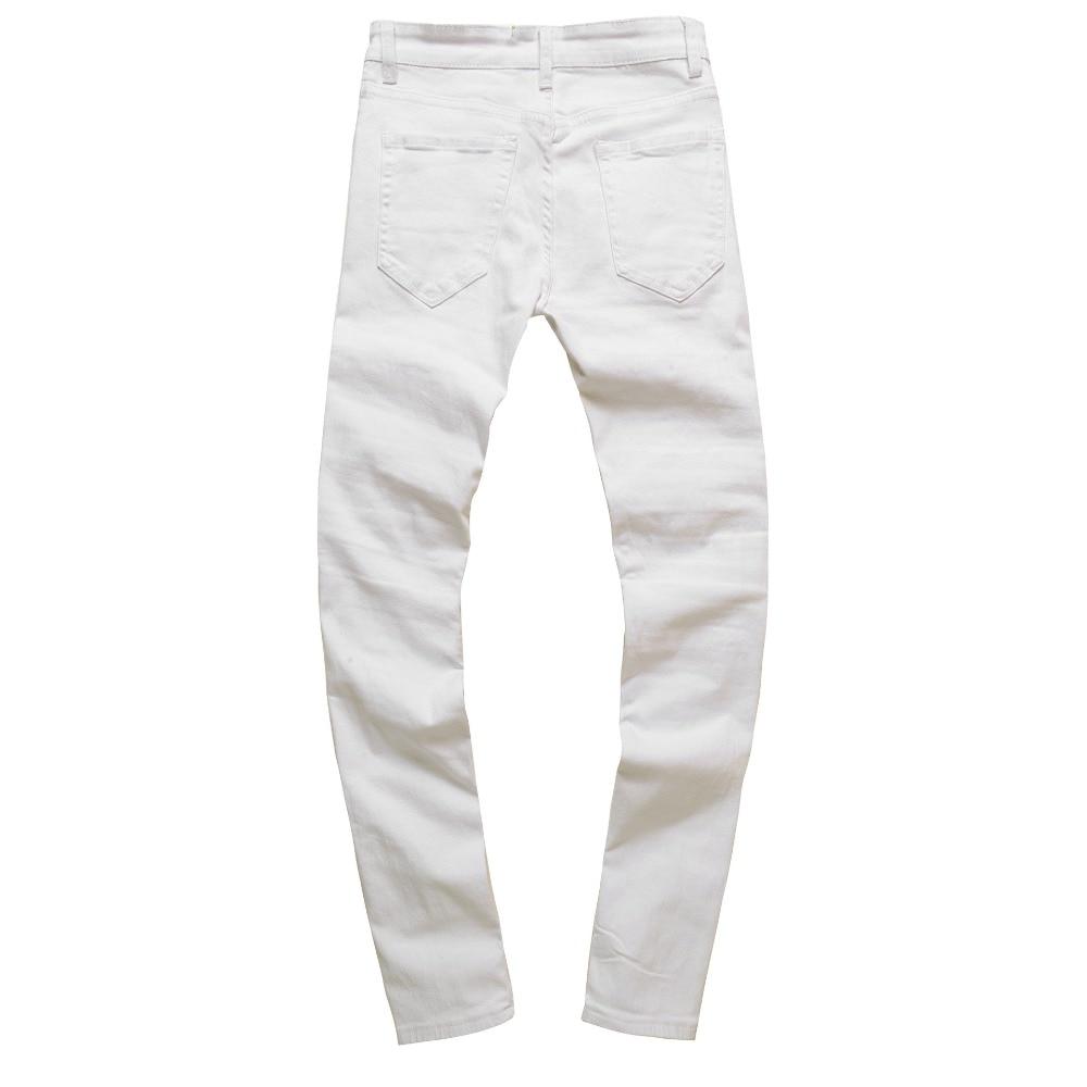 aa5c7c3134a7c US $25.49 49% OFF|Abendessen Dünne Jeans Männer Stretch Weiß Knie Ripped  Biker Jeans Für MenDistressed Dünne Jeans Slim Fit Warme Winter ...
