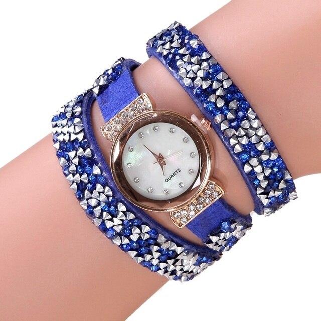 Reloj de pulsera de cuero Pu con diamantes de imitación estilo millonare para  mujer reloj de d97ec9104524
