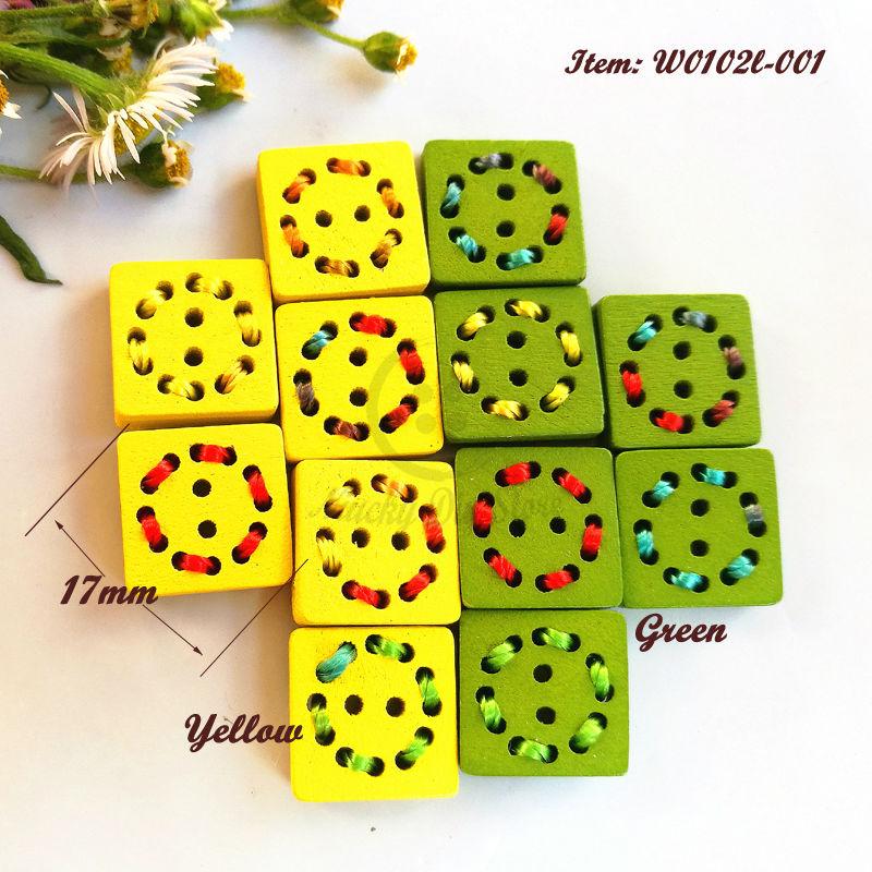 560421dcf 144 قطع 2 ثقوب 17 ملليمتر الأصفر/الأخضر ساحة الملونة اصطف أزرار أزرار  الخياطة الخشب للديكور الخياطة الموضوع لوازم