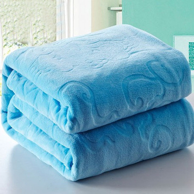 Best Quality Blue Embossed Jacquard Blanket Thick Warm Top