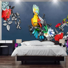 3d wallpaper Chinese rose parrot living room TV background wall home decoration high-grade waterproof material