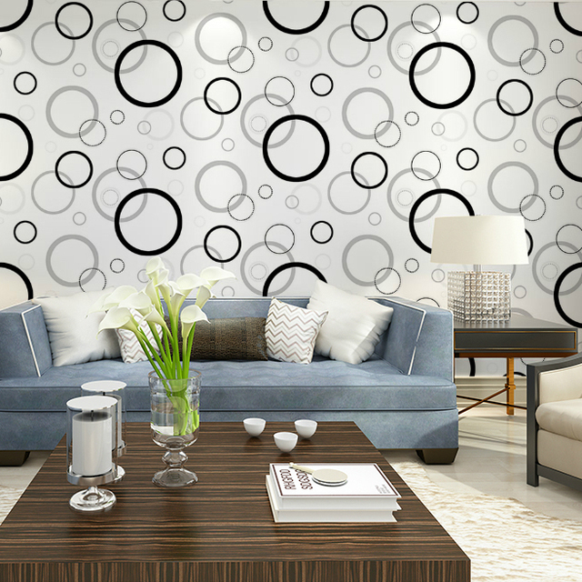 HaokHome Black White/Green Geometric Modern Wallpaper,Non Woven Circle Wall  Paper For Home Part 52