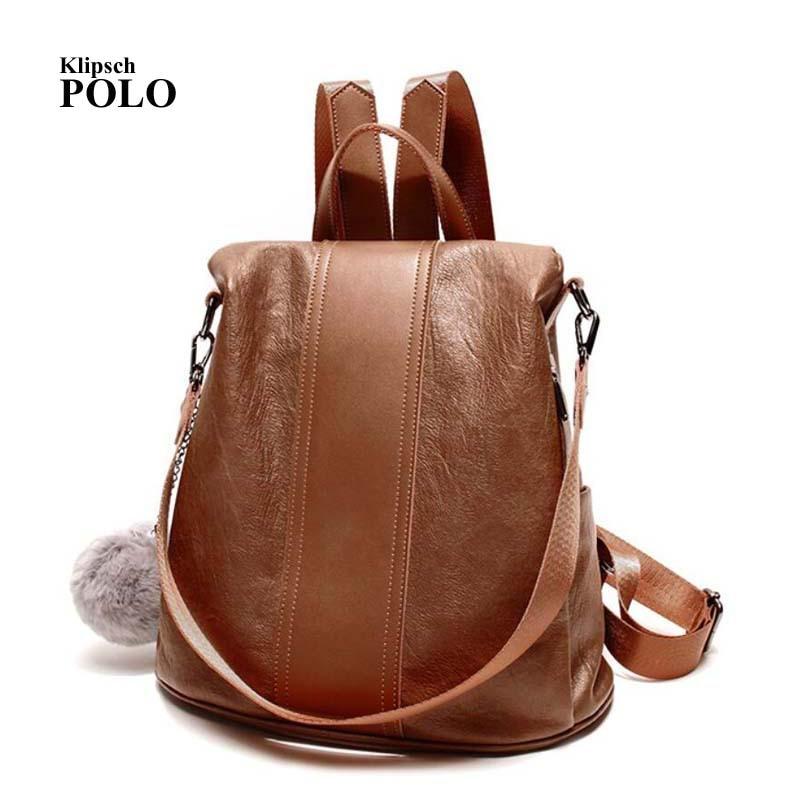Backpack Female Genuine Leather Women Backpacks School Bag Brown put together Multifunctional Leather Back pack on Shoulder