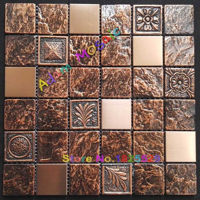 Rustikales Brown Stein Fliesen Kamin Wand Fliesen Kupfer Backsplash Fliesen  Küche Alte Gold Metall Mosaik Baumaterialien