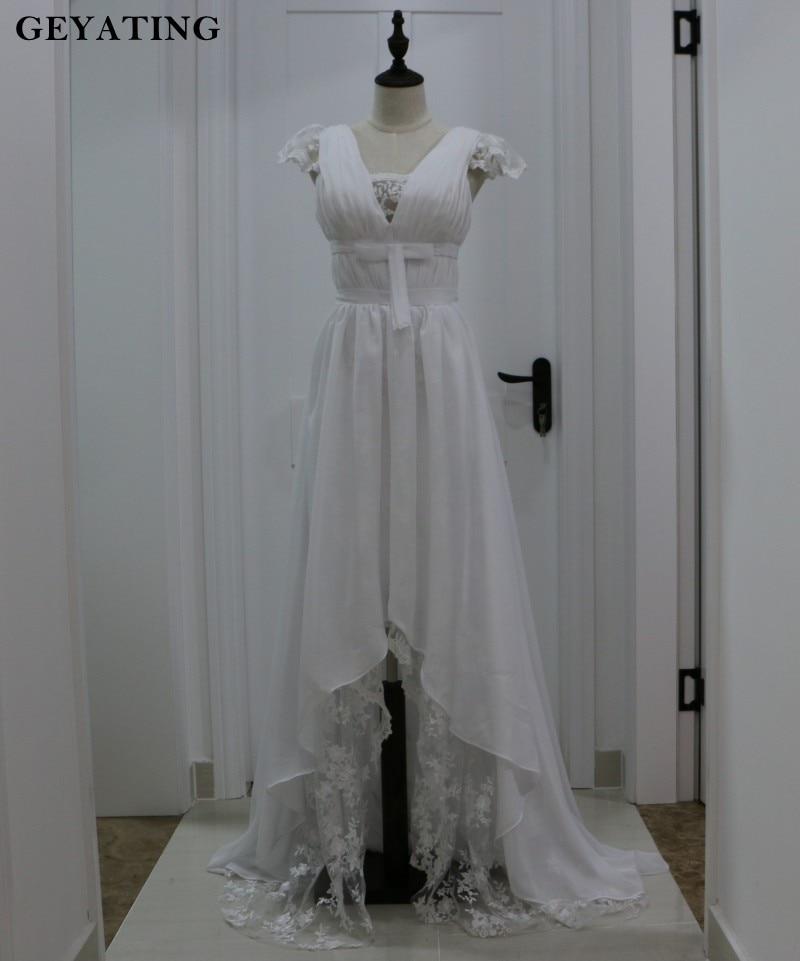 Vintage Lace Boho Wedding Dress 2018 Gipsy V Neck High Low