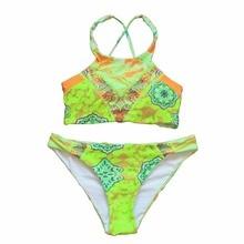 2017 Sexy High Neck Bikini Bandage Swimwear Cut Out Swimsuit Retro Halter Bikini Set Brazilian Printed Summer Beach Suit S M L