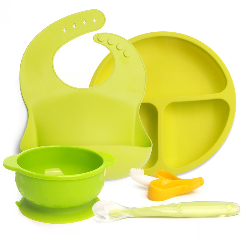 Food Grade Silicone baby feeding Set Bib+Duction Bowl+Silicone Spoon+Baby Toother+Baby Green Baby Gift Set Eating Training