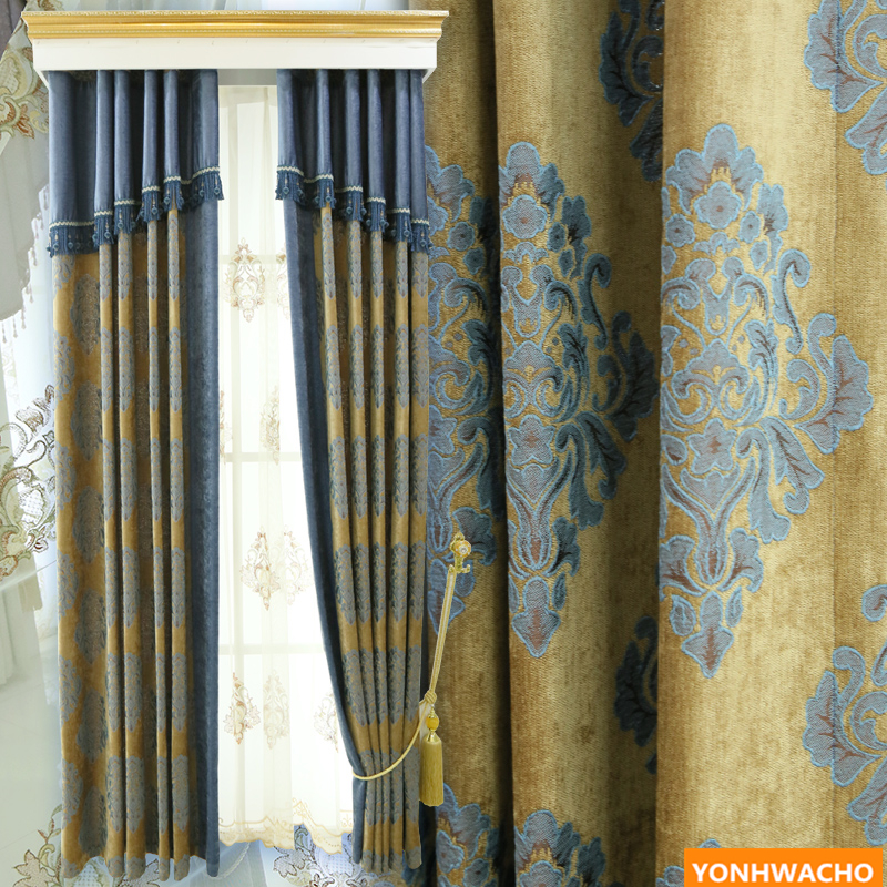 Custom curtains Thickened chenille draped Deluxe bedroom luxury jacquard European gold cloth blackout curtain tulle drapes N640Custom curtains Thickened chenille draped Deluxe bedroom luxury jacquard European gold cloth blackout curtain tulle drapes N640