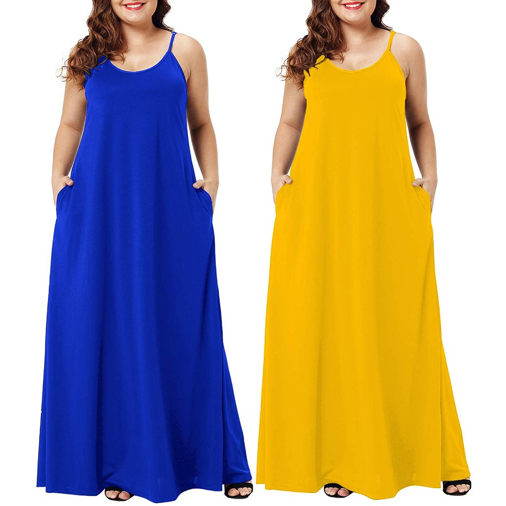 HTB1hNrUXG5s3KVjSZFNq6AD3FXaK Plus Size Dress Women Summer Solid Maxi Dresses Sexy Spaghetti Straps Sleeveless Loose Long Dress With Pockets Casual Vestidos