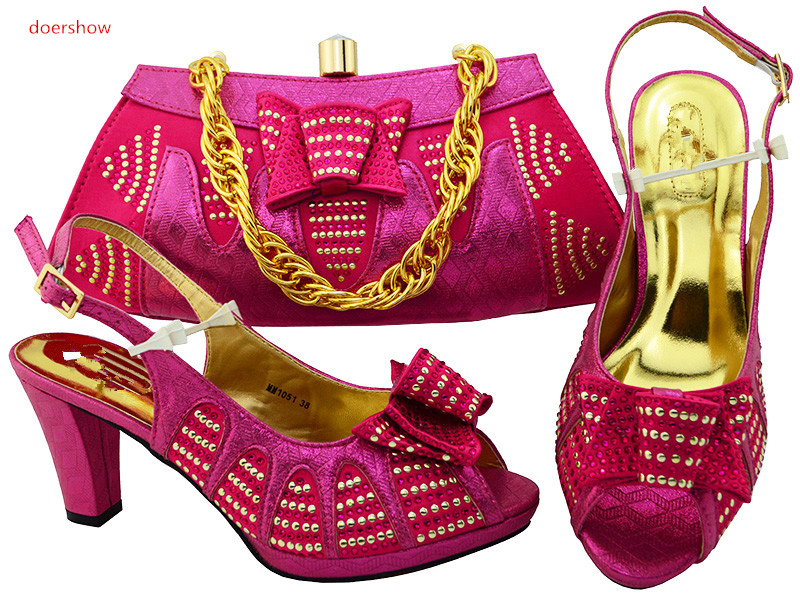 doershow  fuchsia Shoes and Bag Sets Italian Shoes with Matching Bags High Quality Women Shoe and Bag To Match Party  HSK1-29 doershow high quality italian shoe and bag to match women shoes african party shoes and bag set green with rhinestone kh1 3