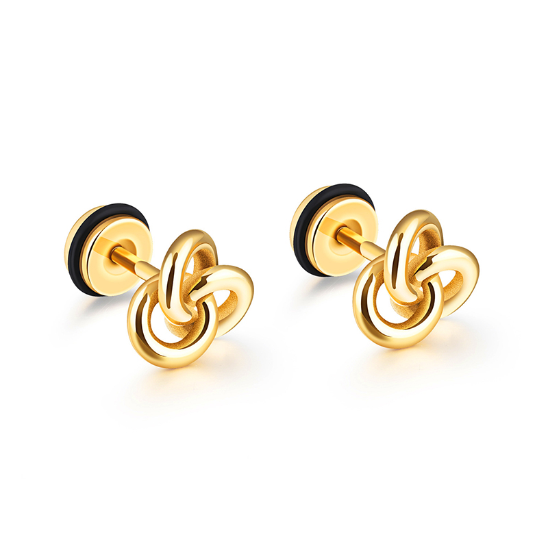 1 Pair Hip Hop Celtics Concentric Knot Earring Gold Silver Color 316L Stainless Steel Men Stud Earrings Jewelry Drop Shipping