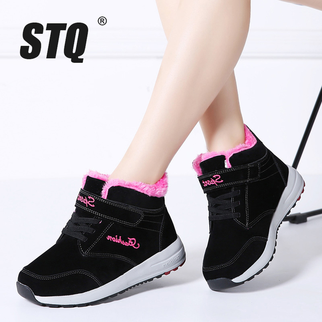 Stq 2019 겨울 여성 부츠 가죽 스웨이드 여성 따뜻한 푸시 발목 부츠 여성 높은 방수 부츠 고무 하이킹 부츠 신발 g16