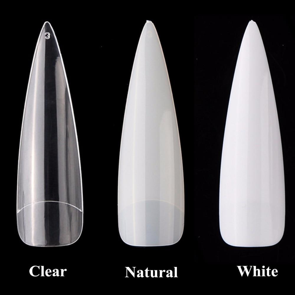 Makartt 100Packs Long Stiletto Nails Long Sharp False Nail Art Tips Acrylic Salon White Natural Clear Wholesale A0509XX