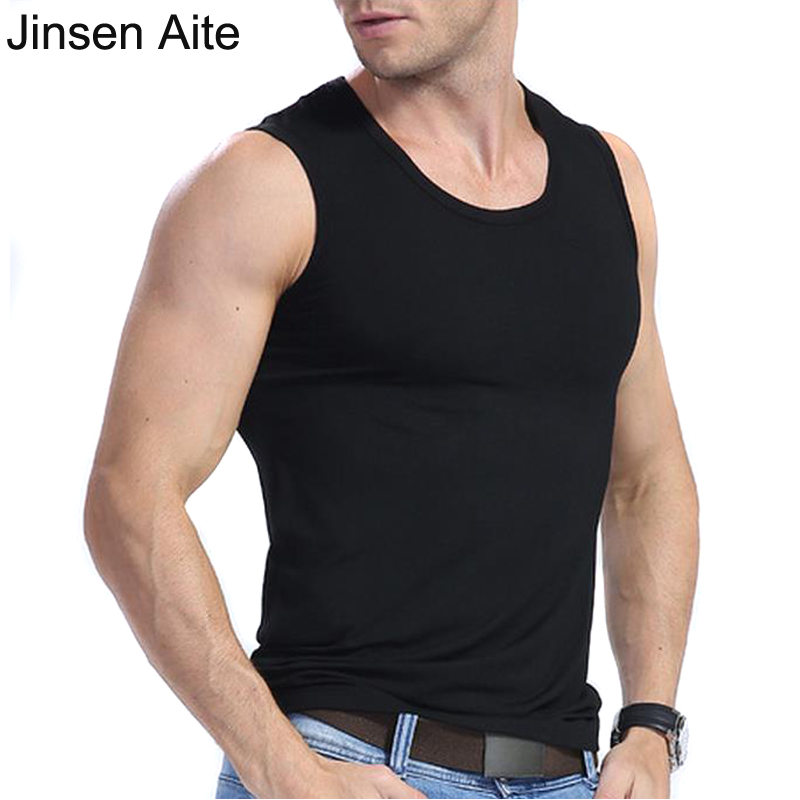 Jinsen Aite Plus Size XL-6XL Modal Men Tank Tops Casual Solid Big Size New Summer O-Neck Sleeveless Fitness Men JS141