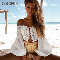 COLOREE Vacation Beach Sexy Women Short Blouse 2019 Summer White/Black Hollow Out Lace Up Bust Lantern Sleeve Blouse