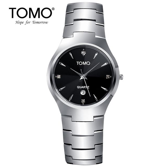 2016 Nova 100% Original Tomo Cristal de Safira Aço de Tungstênio de Quartzo Relógios Para Homens e Mulheres Com Lindamente Embalado