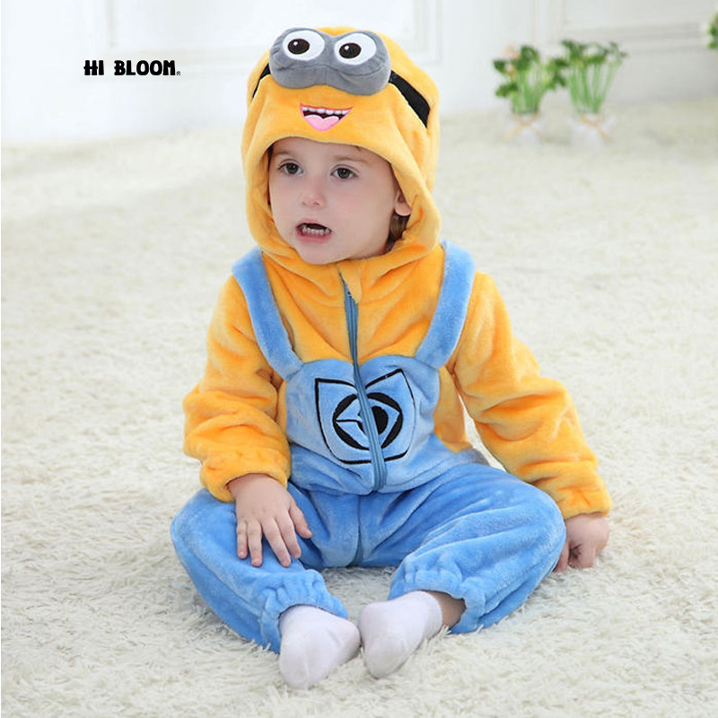 Children Easter Gift Winter Flannel Baby Minion Cartoon Costume Baby Boys Girls Hooded Rompers Jumpsuit Winter Infant Outwear цена