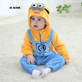 Children Easter Gift Winter Flannel Baby Minion Cartoon Costume Baby Boys Girls Hooded Rompers Jumpsuit Winter Infant Outwear