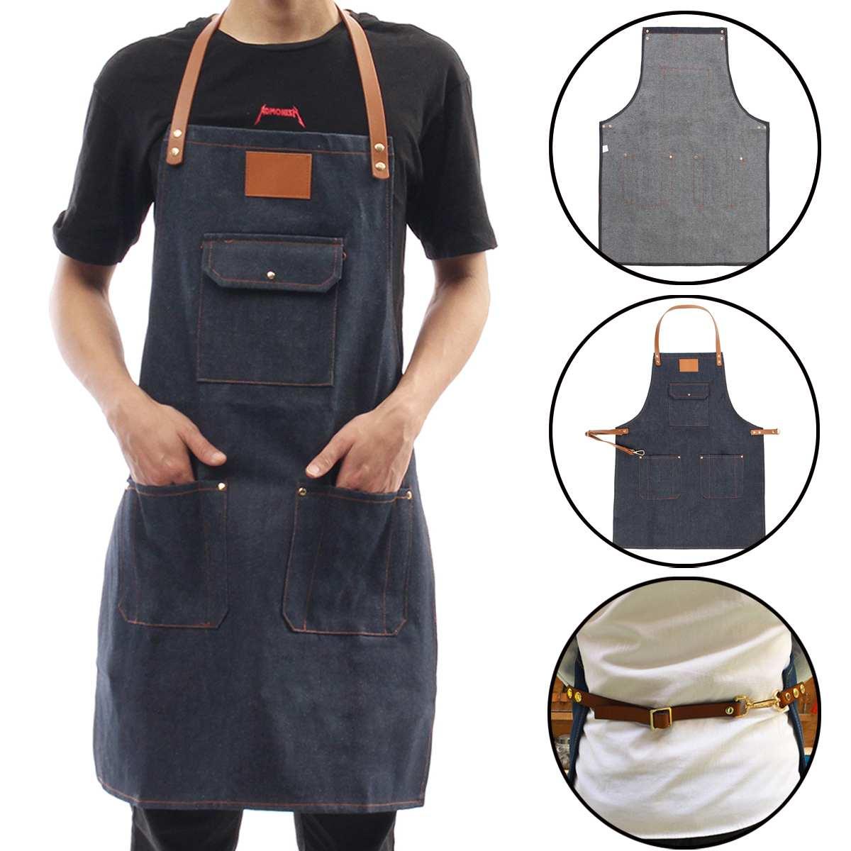 1pcs Blue Denim Simple Aprons Uniform Unisex Adult Fashion Jeans Aprons For Men Ladys Kitchen Cooking Gifts Home & Garden