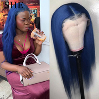 Colored Blue 360 Lace Human Hair Wig With Baby Hair Glueless 13x6 Lace Front Wigs Virgin Hair Frontal Closure Wig 150% Density