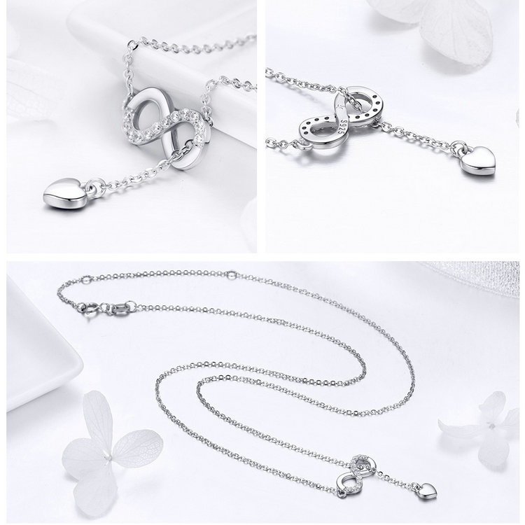 BAMOER Hot Sale 100% 925 Sterling Silver Infinity Forever Love Chain Pendant Necklaces for Women Sterling Silver Jewelry SCN223