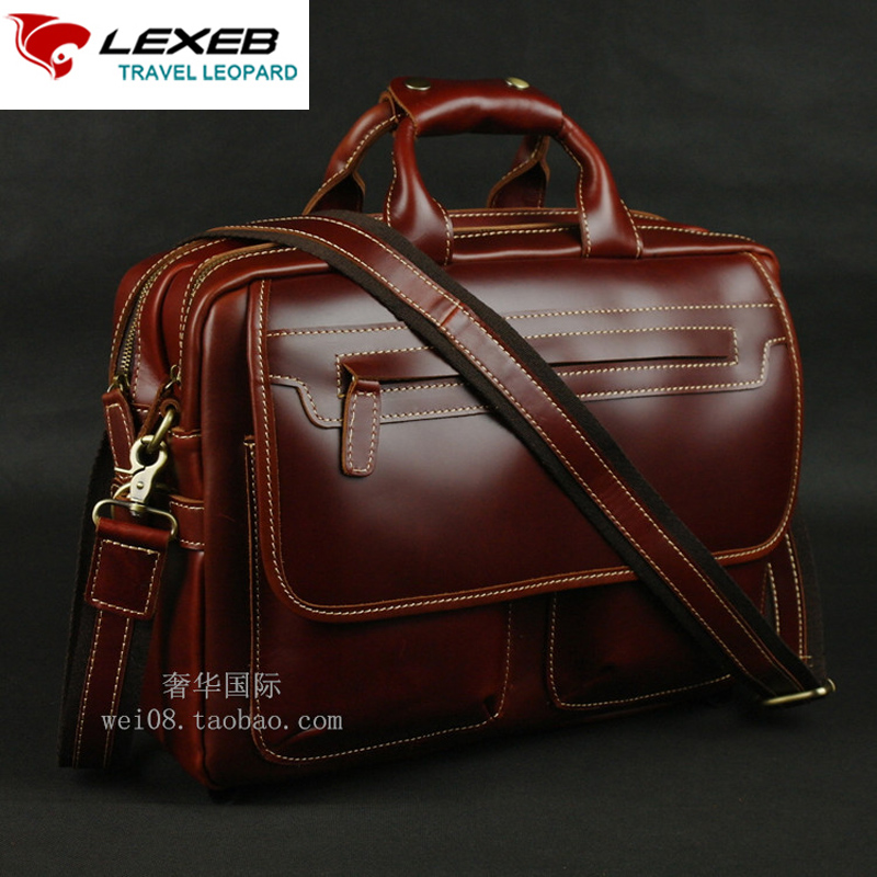 LEXEB Brand Men's Briefcases Solid Genuine Leather Business Travel Bag 15 Inch Laptop Office Bags With Handles High Quality Wine