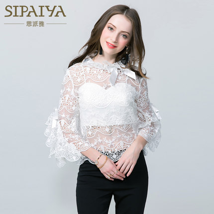 Hot Selling 2017 Autumn New Style Hollow Out Lace Women Tops Two Sets Flare Sleeves Bow Tie Shirt Blusa White Blouses Crop Tops