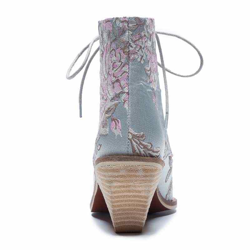 נשים מקרית מוערם גבוהה עקבים רקמת פרח תחרה עד קרסול מגפי נעלי נקבה גבירותיי נעלי קרסול משי סאטן הנעלה אתחול