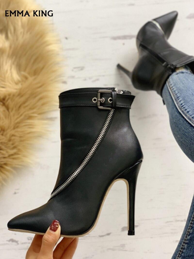 Nouveau Mujer Courtes À Dames Hauts Pu Mode Sexy Aiguilles Botas Femmes Bottines 2019 Black Femme Détail Zip Talons Boucle wpw4rq