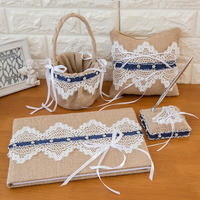 Bridal Wedding Reception Signature Pen Basket Collection Signature Guest Book Ring Pillow Party Ceremony Accessories