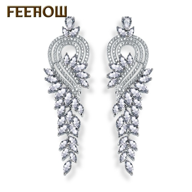 94bf84bb2 FEEHOW Gorgeous Design Sliver Color Marquise Shape AAA+ Zircon Cluster  Women Long Earrings Bridal Drop Earrings FWEP344