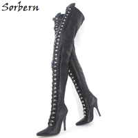 Sorbern Big Size Fetish 12CM High Heel Long Boots For Woman Lace Up Over The Knee Thin High Heel Boots Fashion Woman Shoes