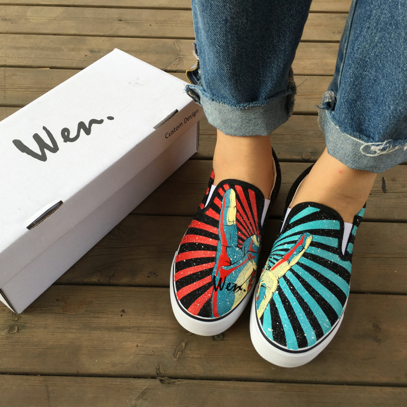 Wen Original Hand Painted Design Shoes Hand Gesture Rock And Roll Red Blue Stripes Slip On Canvas Men Pumps Women Sneakers