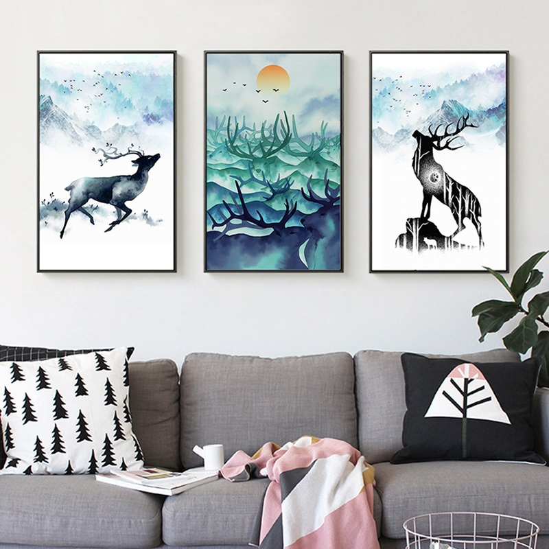 Nordic Poster Ink Landscape Decoration Canvas Painting Elk Animals Modular Wall Pictures for living Room Home Decor No Frame