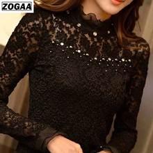Plus Size S-5XL Blusas Lace Women Blouse Ruffled Collar Long Sleeve Blouse with Bead Women Clothing Blusas Femininas ZOGAA