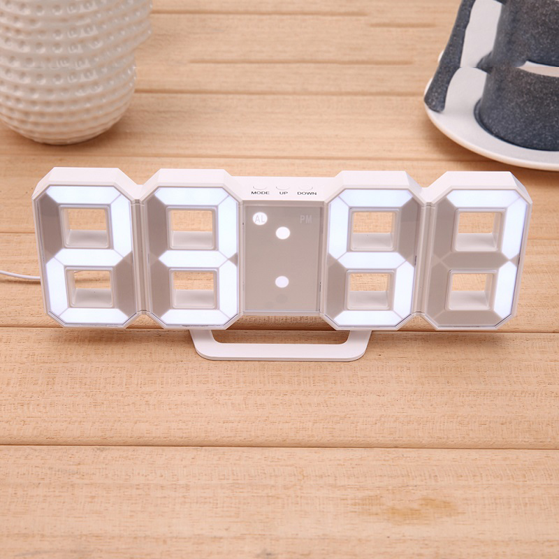 Digital Electronic Clock LED Table Clock Brightness Adjustable  Alarm Clock Fashion Wall Hanging Clock With USB Cable Wall Clock