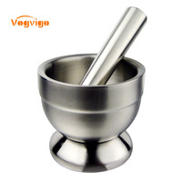 VOGVIGO Stainless Steel Mortar Salt And Pestle Pedestal Bowl Garlic Press Pot Herb Mills Pepper Spice Grinder Cooking Tools