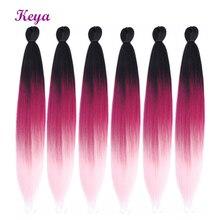 Keya новые огромные косички предварительно Пернатые натуральные слои 24 дюйма Омбре крючком косички синтетические волосы для наращивания для женщин