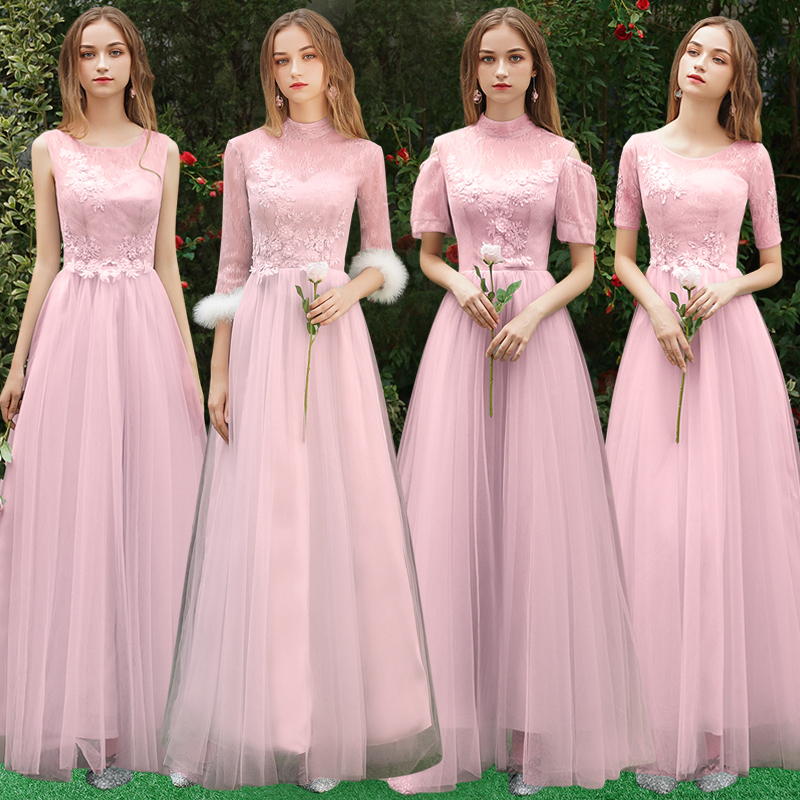 Beauty Emily Pink Lace Bridesmaid Dresses 2019 Long  A-line Wedding Party Gown Formal Dress Robe De Soiree