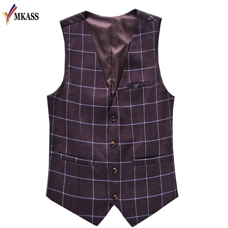 2018 Herbst Mode Männer Westen Neue Plaid Slim Fit Weste Männer Gentleman Anzug Westen Männlichen Outwear Weste Plus Größe 6xl Hitze Und Durst Lindern.