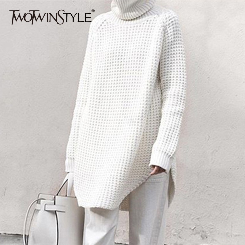 TWOTWINSTYLE Hollow Out Sweater For Women Turtleneck Split Long Sleeve Midi Knitting Jumper 2020 Spring Thick Casual Clothing