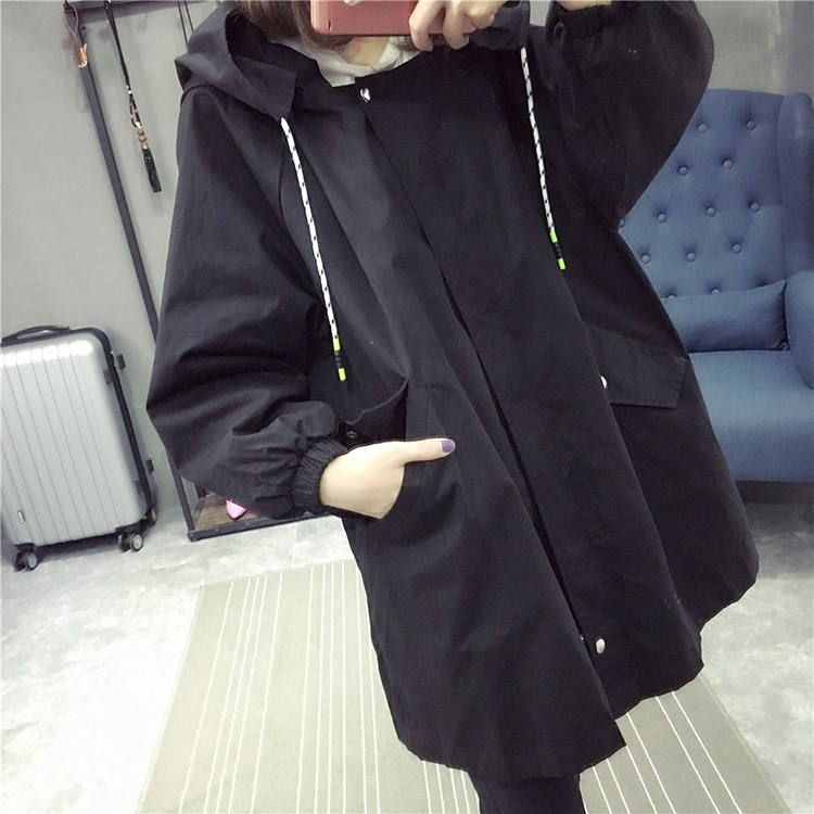 New Spring Women's Loose Thin   Trench   Coat Long Hooded Hoodies Windbreaker Female Oversize Boyfriend   Trench   Printed Outerwear