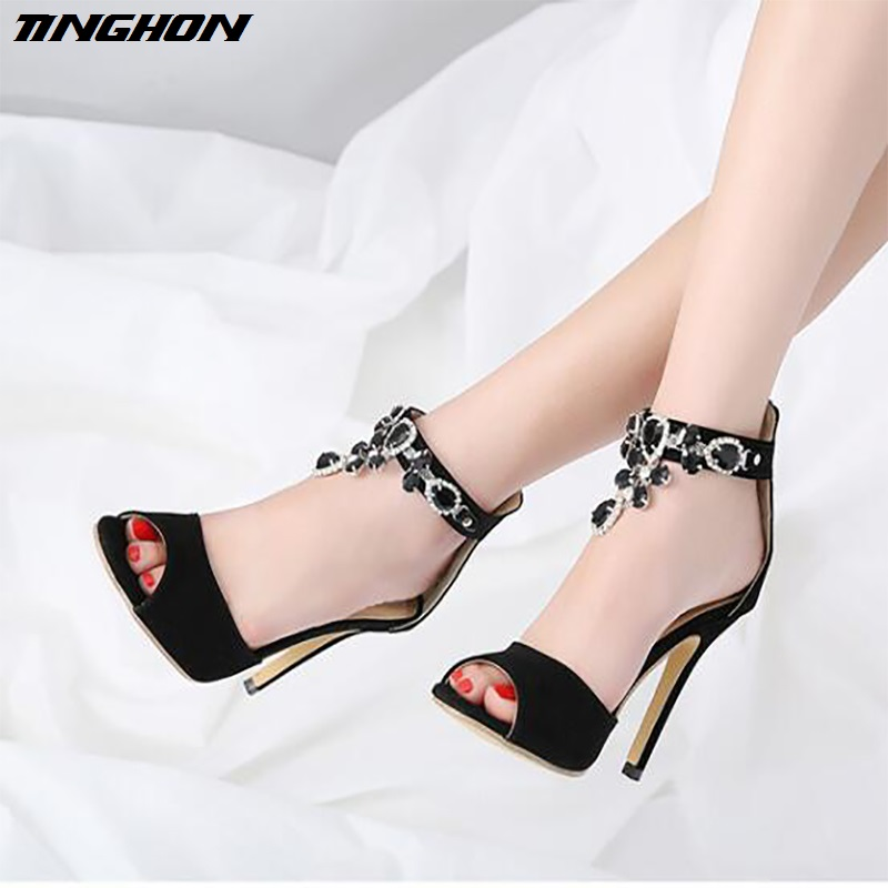 TINGHON Hot New summer Suede Openwork Women Straps sandals pumps sexy 12CM high  heels Solid color fashion Carved woman shoes-in High Heels from Shoes on ... 19c1c1a163a0