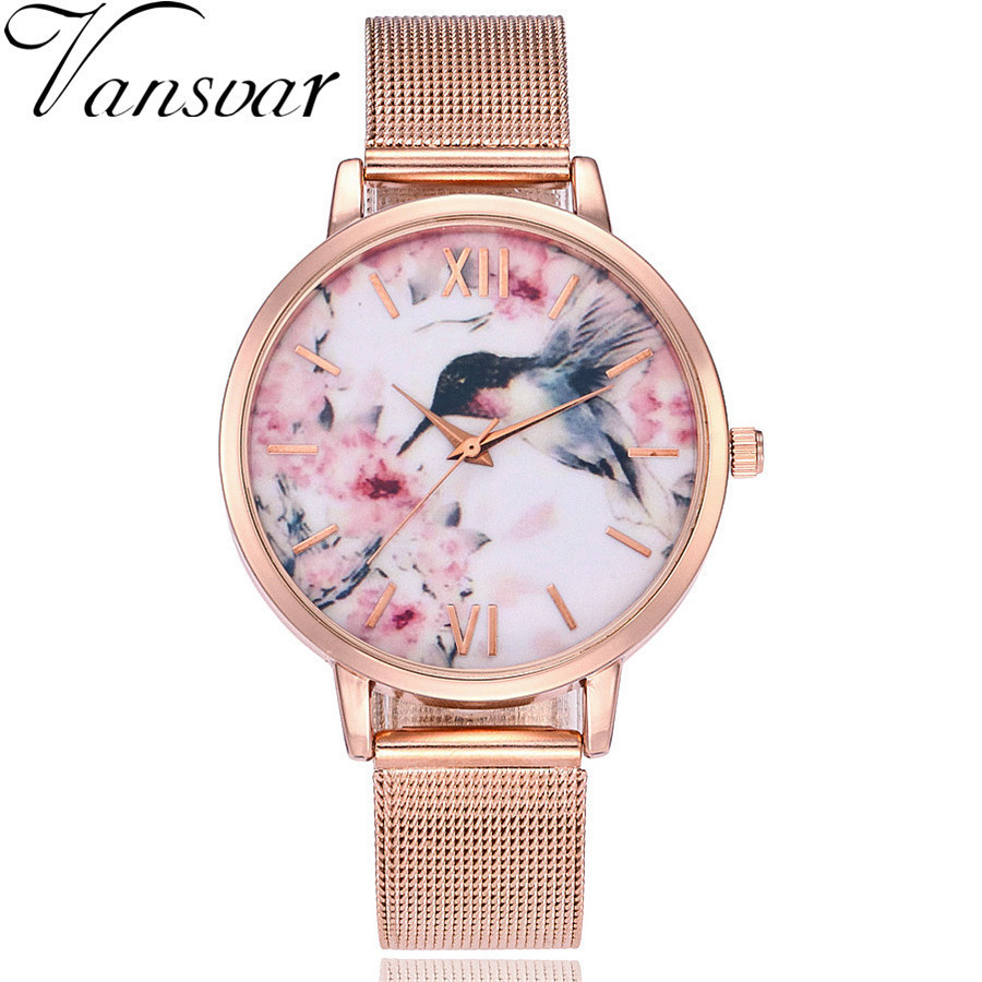New Fashion Women Brid Watch Rose Gold Mesh Band Wristwatches Casual Women Ladies Quartz Clock Relogio Feminino Hot Selling gold women ladies quartz watch hot fashion rhinestone golden mesh band watches women diamond bracelet clock relogio feminino